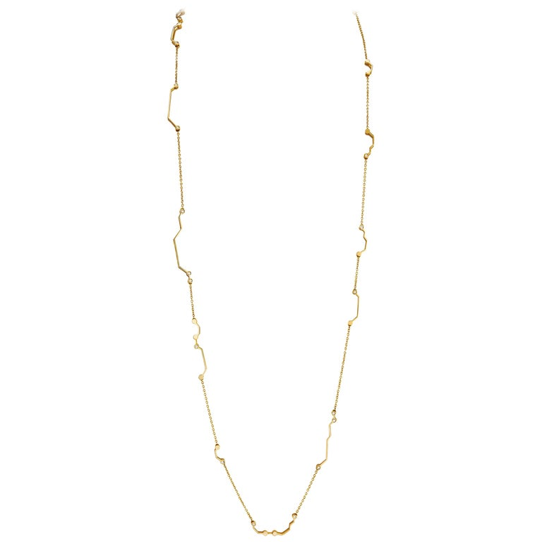 Nathalie Jean Contemporary 0.468 Carat Diamond Yellow Gold Link Chain Necklace For Sale