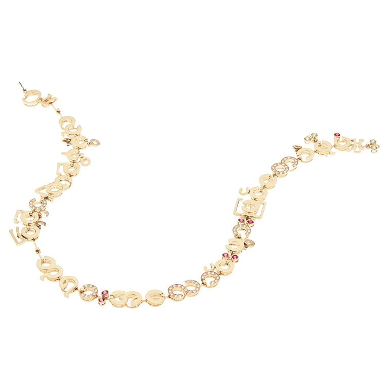 Nathalie Jean Contemporary 1.75 Carat Diamond Ruby Gold Chain Drop Necklace In New Condition For Sale In Milan, Lombardia