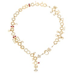 Nathalie Jean Contemporary 1.75 Carat Diamond Ruby Gold Chain Drop Necklace