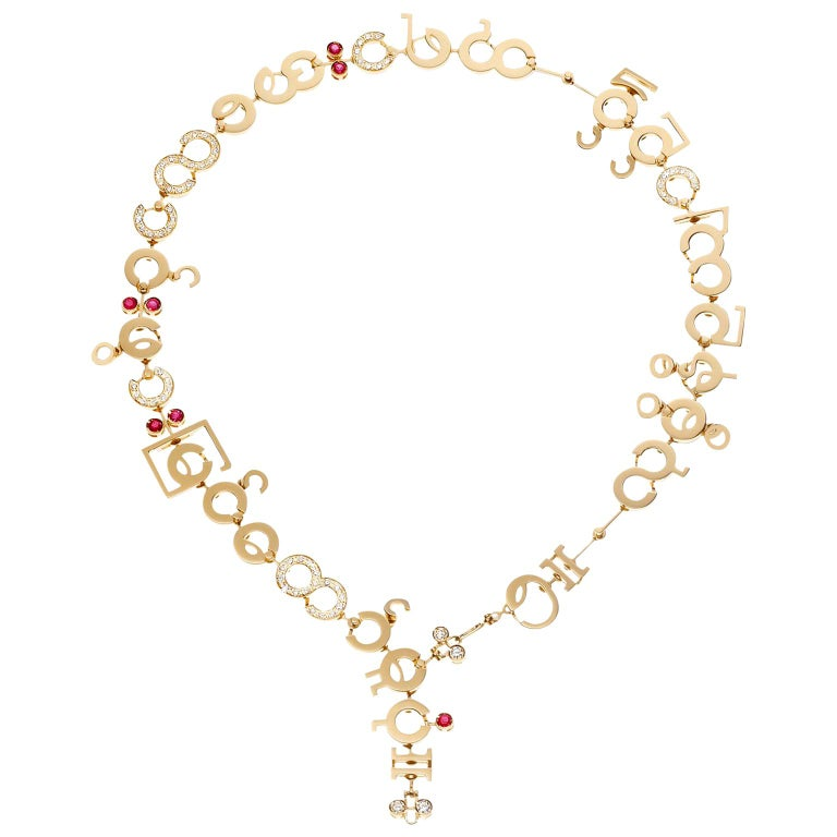Nathalie Jean Contemporary 1.75 Carat Diamond Ruby Gold Chain Drop Necklace For Sale