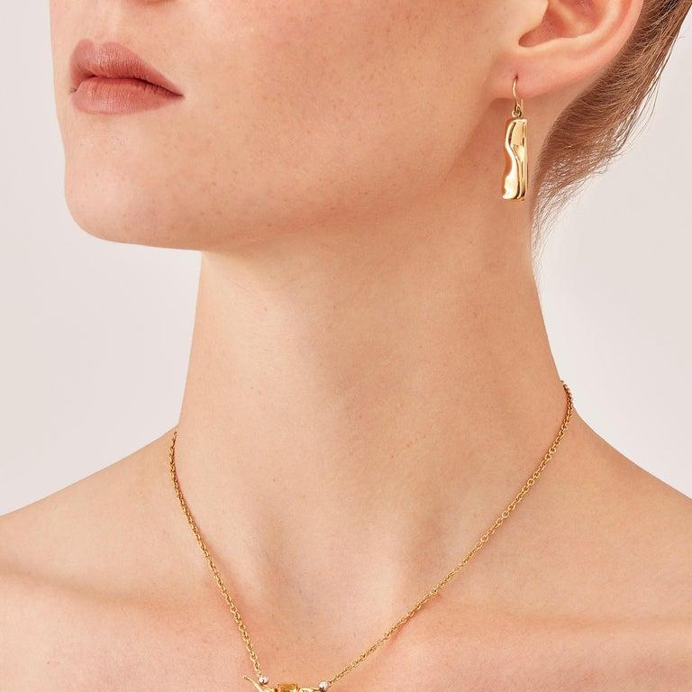 Nathalie Jean Contemporary 18 Karat Gold Drop Dangle Sculpture Earrings For Sale 1