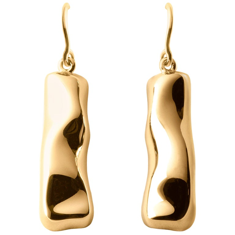 Nathalie Jean Contemporary 18 Karat Gold Drop Dangle Sculpture Earrings For Sale