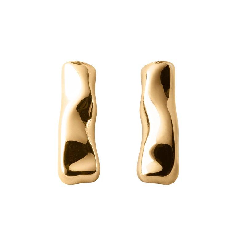 Women's or Men's Nathalie Jean Contemporary 18 Karat Gold Sculpture Earrings For Sale