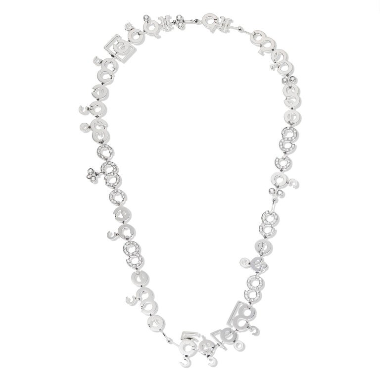 Round Cut Nathalie Jean Contemporary 3.05 Carat Diamond White Gold Chain Drop Necklace For Sale