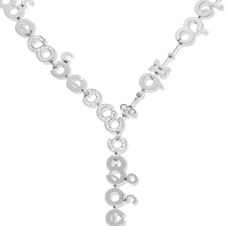 Women's or Men's Nathalie Jean Contemporary 3.05 Carat Diamond White Gold Chain Drop Necklace For Sale