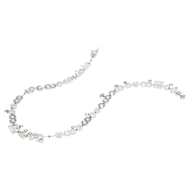Nathalie Jean Contemporary 3.05 Carat Diamond White Gold Chain Drop Necklace For Sale 1