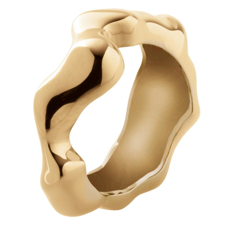 Nathalie Jean Contemporary Gold Limited Edition Fashion Band Sculpture Ring For Sale 1