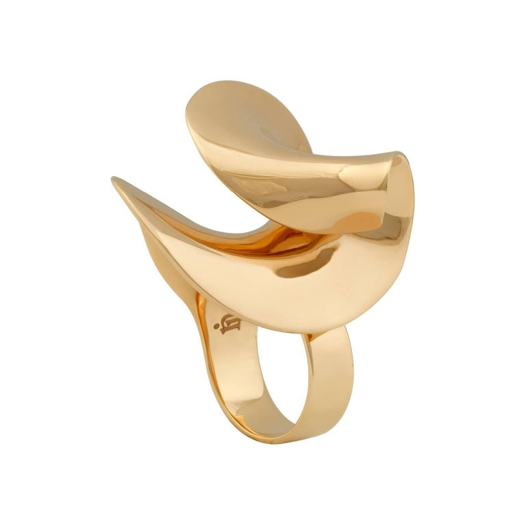 Women's or Men's Nathalie Jean Contemporary Gold Limited Edition Sculpture Cocktail Ring For Sale