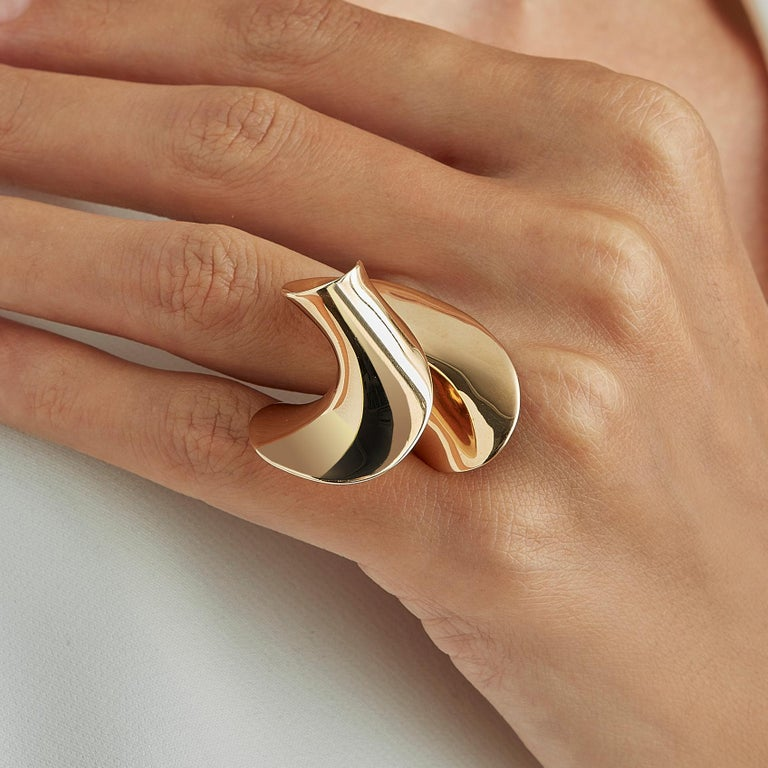 Nathalie Jean Contemporary Gold Limited Edition Sculpture Cocktail Ring For Sale 1