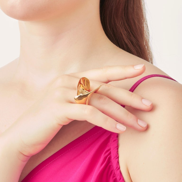 Nathalie Jean Contemporary Gold Limited Edition Sculpture Cocktail Ring For Sale 2