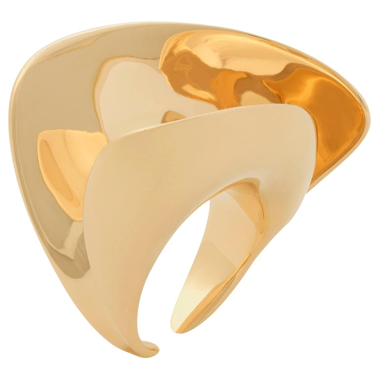Nathalie Jean Contemporary Gold Limited Edition Sculpture Cocktail Ring For Sale