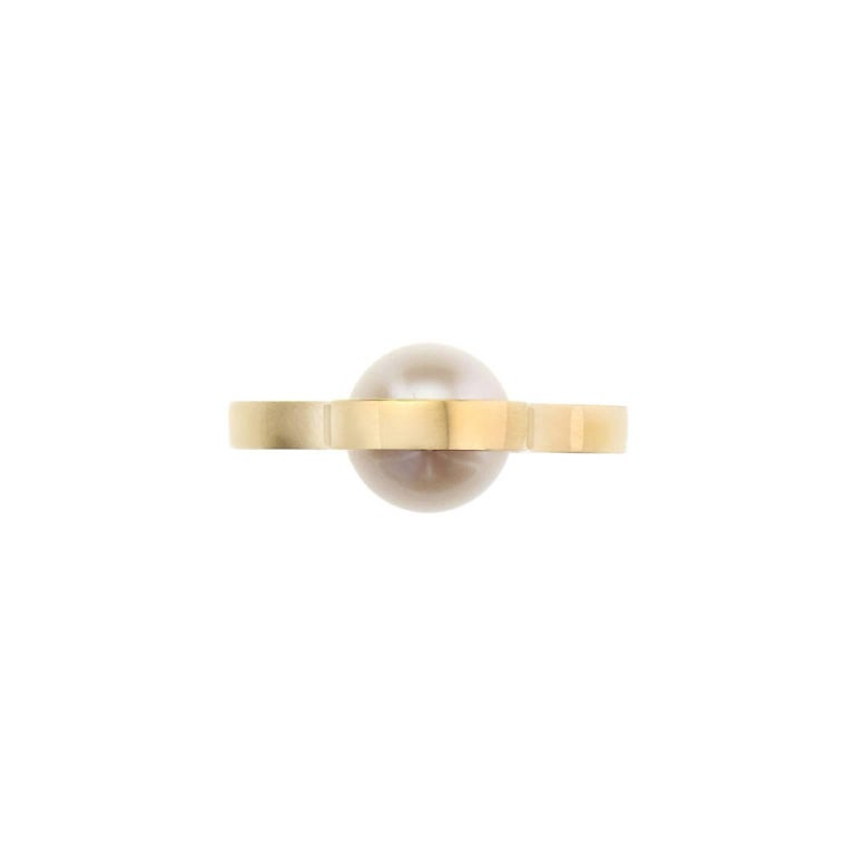 Uncut Nathalie Jean Contemporary Japanese Cultured Pearl 18 Karat Yellow Gold Ring For Sale