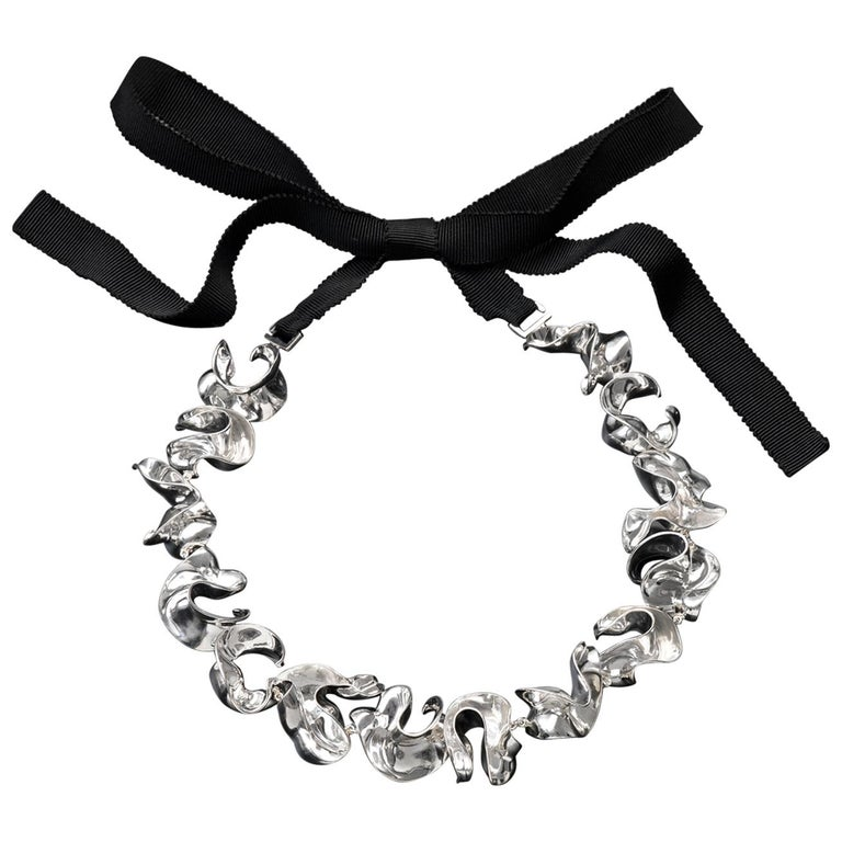 Nathalie Jean Contemporary Limited Edition Sterling Silver Link Choker Necklace For Sale