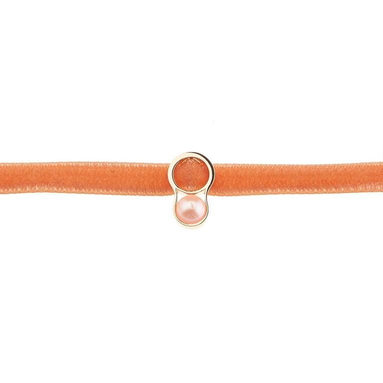 Uncut Nathalie Jean Japanese Cultured Pearl 18 Karat Yellow Gold Velvet Cuff Bracelet For Sale