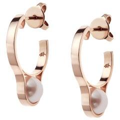 Nathalie Jean Contemporary Pearl 18 Karat Rose Gold Hoop Earrings