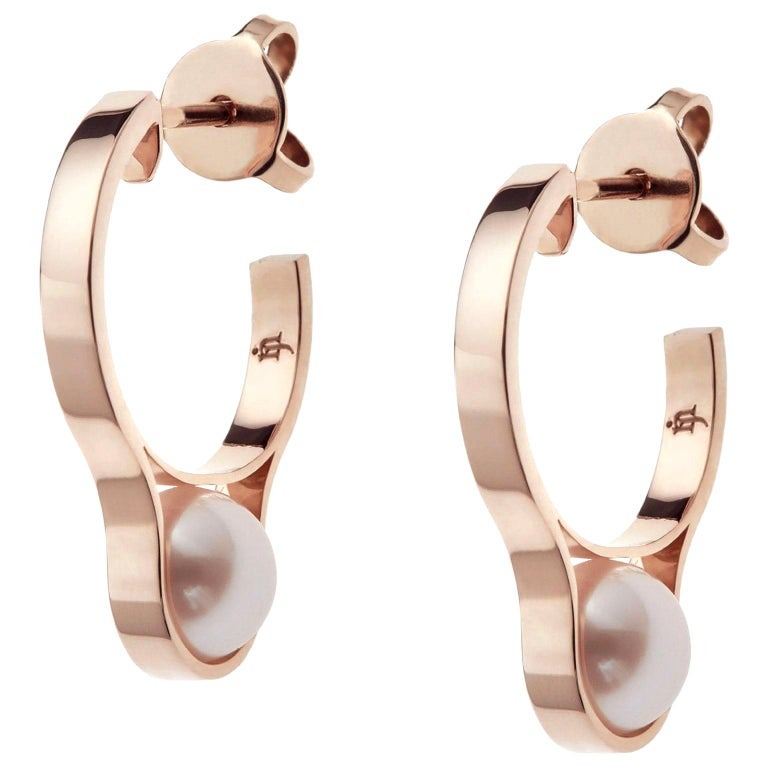 Nathalie Jean Contemporary Pearl 18 Karat Rose Gold Hoop Earrings For Sale