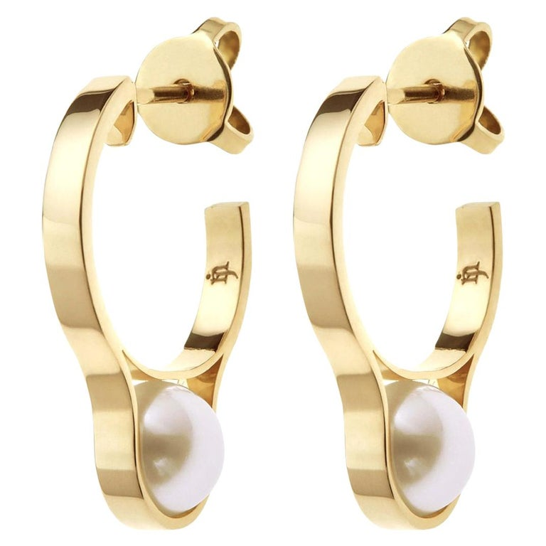 Nathalie Jean Contemporary Pearl 18 Karat Yellow Gold Hoop Earrings For Sale