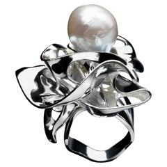 Nathalie Jean Contemporary Pearl Sterling Silver Sculpture Cocktail Ring