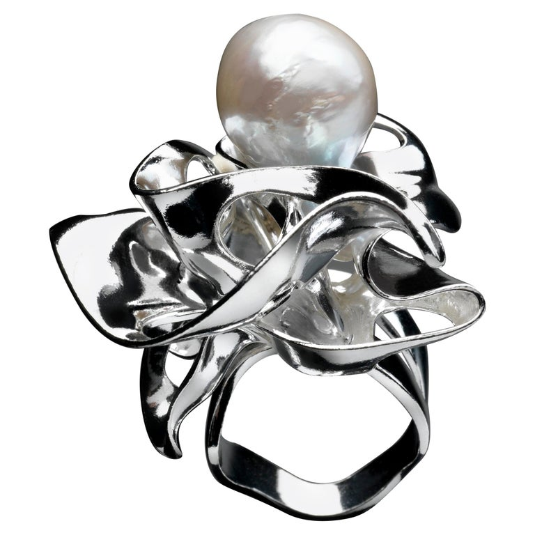 Nathalie Jean Contemporary Pearl Sterling Silver Sculpture Cocktail Ring For Sale