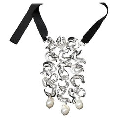 Nathalie Jean Contemporary Pearl Sterling Silver Silk Drop Link Pendant Necklace