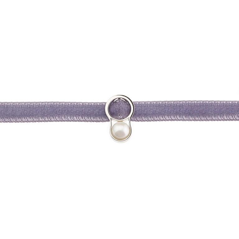 Uncut Nathalie Jean Contemporary Japanese Cultured Pearl White Gold Velvet Bracelet For Sale