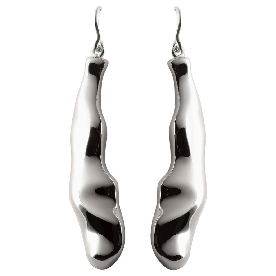 Nathalie Jean Contemporary Rhodium Plated Silver Drop Dangle Sculpture Earrings