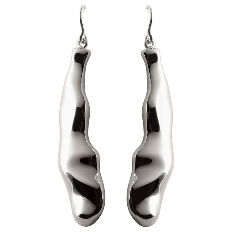Nathalie Jean Contemporary Rhodium Plated Silver Drop Dangle Sculpture Earrings For Sale