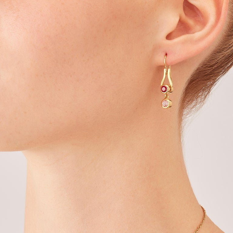 Made by hand in Nathalie Jean's Milan atelier, Microcosmos Earrings in 18 karat rosé gold, a warm, sophisticated color close to yellow gold, are devised as a game, a construction or a sophisticated aerial mobile. Shapes attached to gold settings