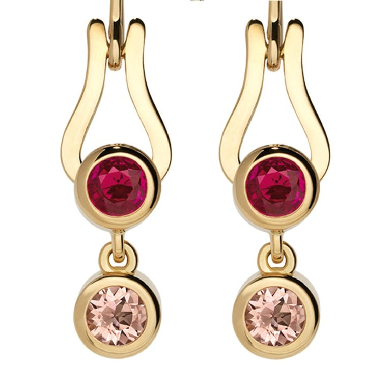 Nathalie Jean Contemporary Ruby Tourmaline Gold Articulated Drop Dangle Earrings In New Condition For Sale In Milan, Lombardia