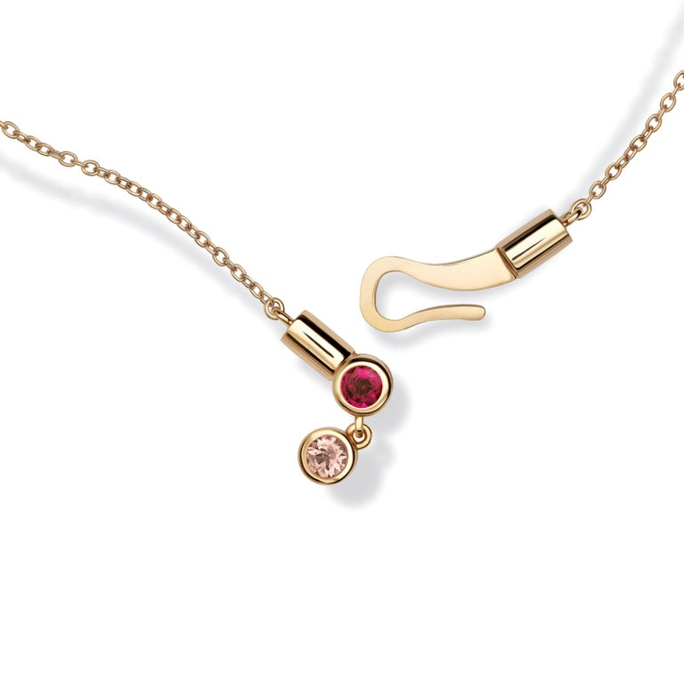 Nathalie Jean Contemporary Ruby Tourmaline Gold Pendant Drop Dangle Necklace For Sale 1