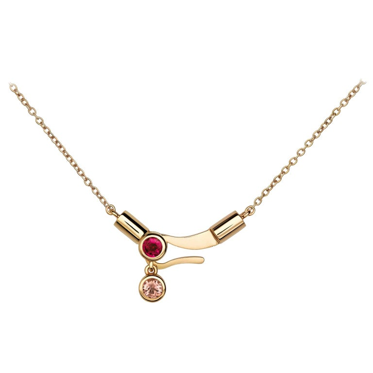Nathalie Jean Contemporary Ruby Tourmaline Gold Pendant Drop Dangle Necklace For Sale