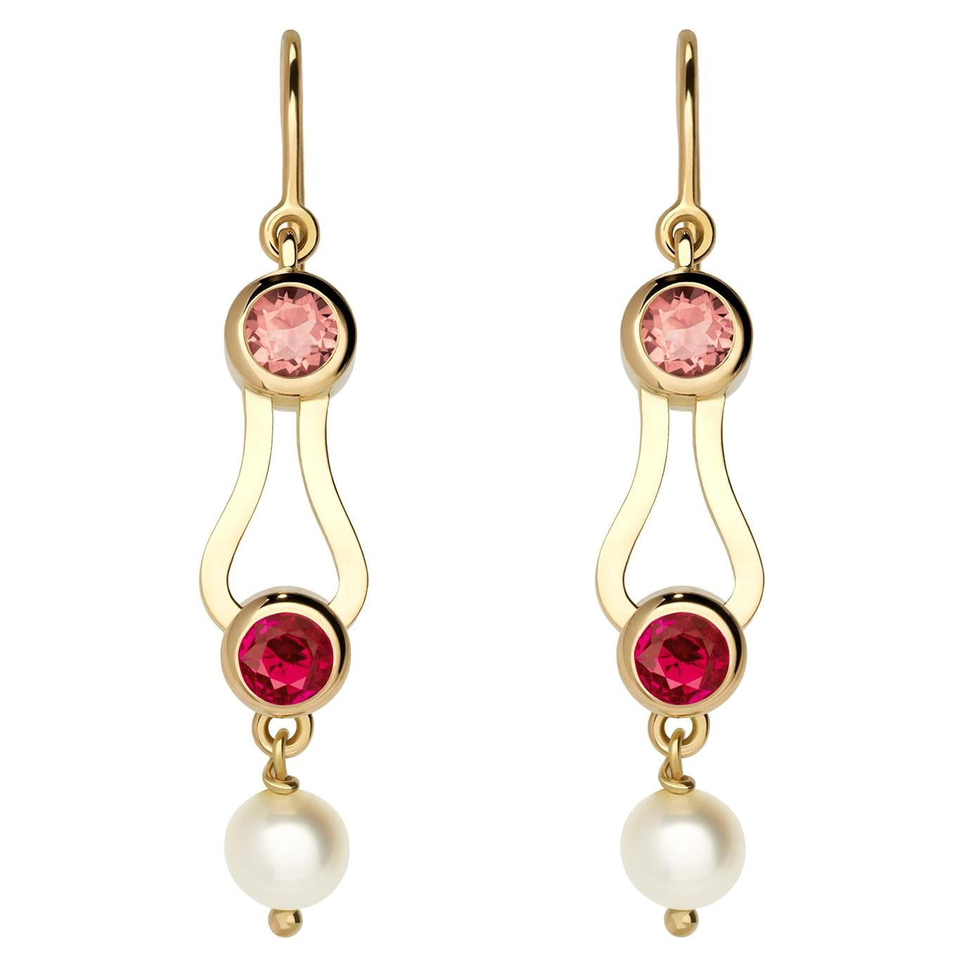 Nathalie Jean Contemporary Ruby Tourmaline Pearl Gold Drop Dangle Earrings