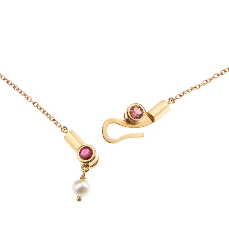 Women's or Men's Nathalie Jean Contemporary Ruby Tourmaline Pearl Gold Pendant Drop Necklace For Sale