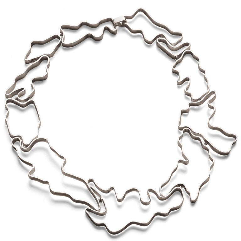 Nathalie Jean Contemporary Sterling Silver Articulated Choker Necklace For Sale 2