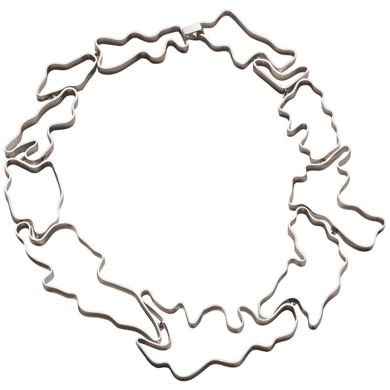 Nathalie Jean Contemporary Sterling Silver Articulated Choker Necklace For Sale