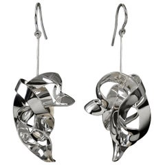 Nathalie Jean Contemporary Sterling Silver Drop Dangle Sculpture Earrings