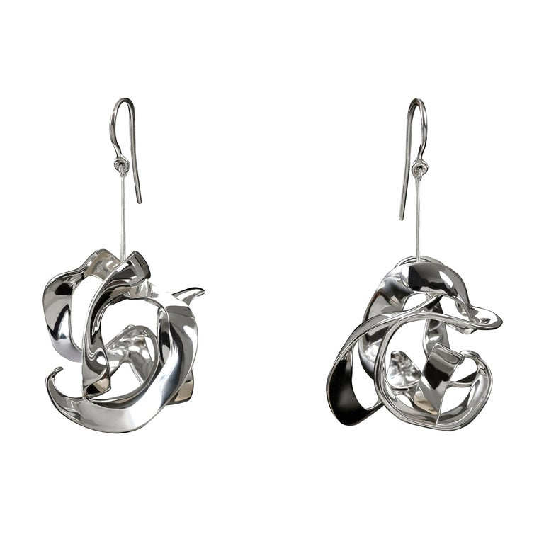 Nathalie Jean Contemporary Sterling Silver Drop Dangle Sculpture Earrings For Sale