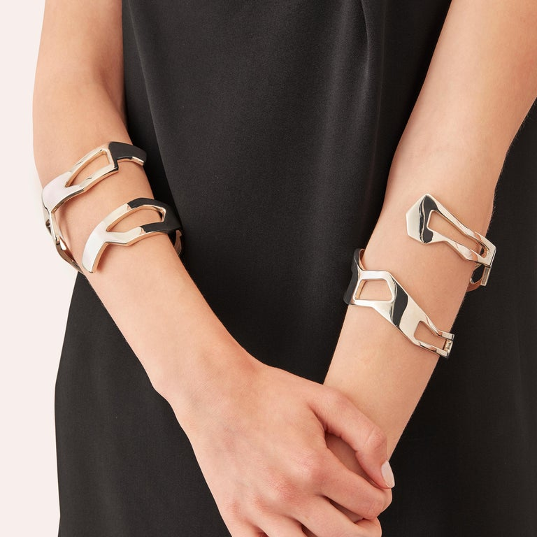 The angular configurations of drifting ice floes inspire the shapes of the Dérive Cuff Bracelets -