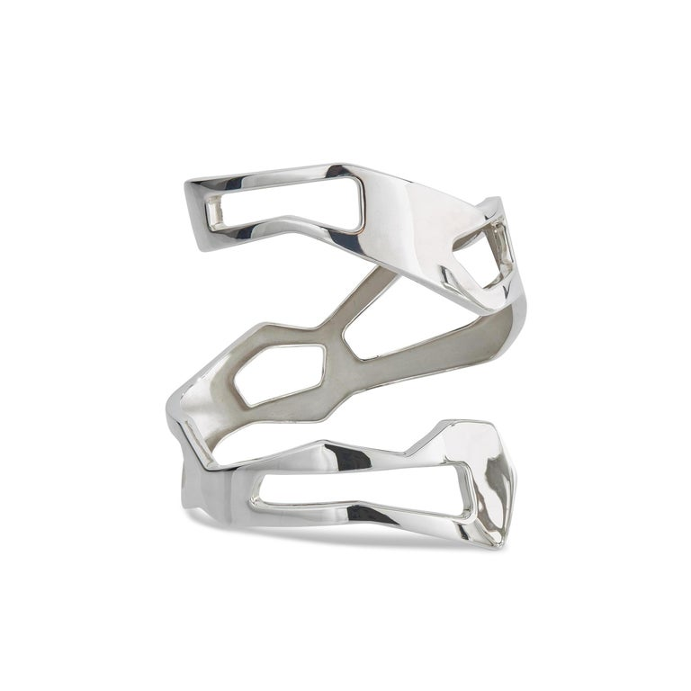 Nathalie Jean Contemporary Sterling Silver Limited Edition Cuff Bracelets In New Condition For Sale In Milan, Lombardia