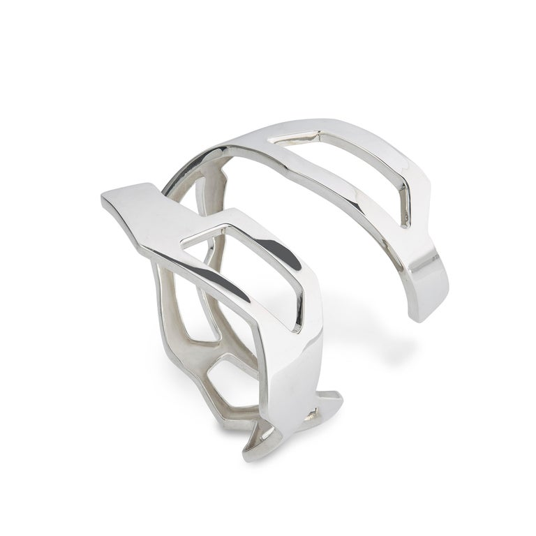 Nathalie Jean Contemporary Sterling Silver Limited Edition Cuff Bracelets For Sale 2