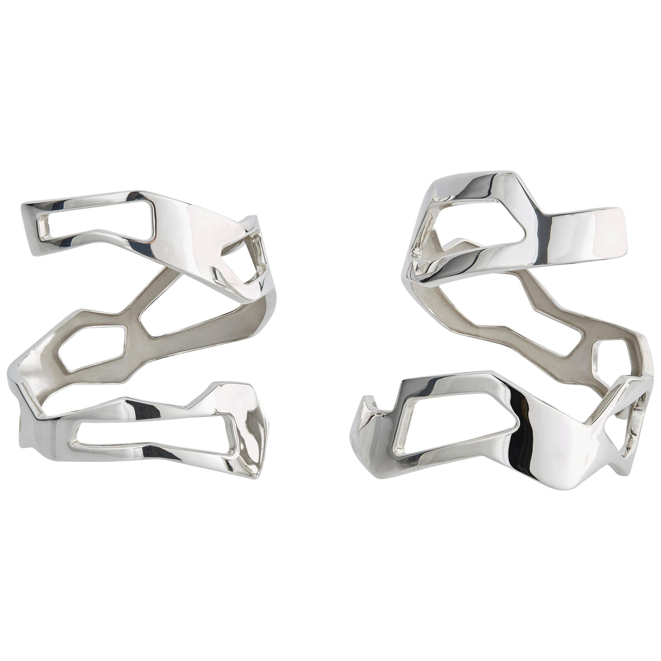 Nathalie Jean Contemporary Sterling Silver Limited Edition Cuff Bracelets