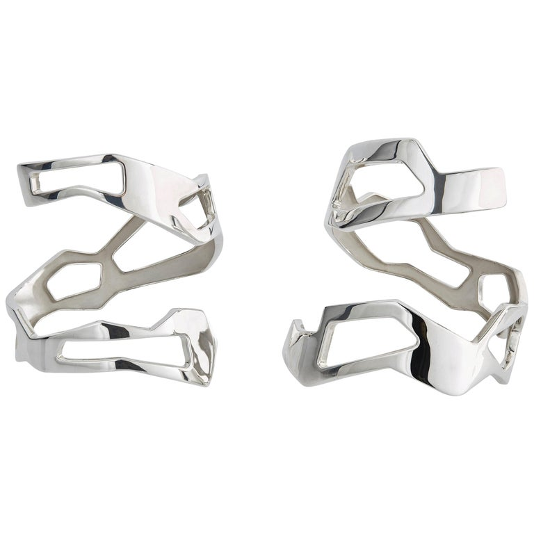 Nathalie Jean Contemporary Sterling Silver Limited Edition Cuff Bracelets For Sale