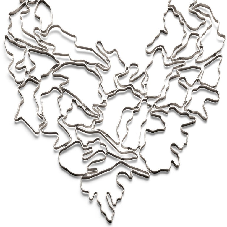 Women's or Men's Nathalie Jean Contemporary Sterling Silver Limited Edition Drop Link Necklace For Sale