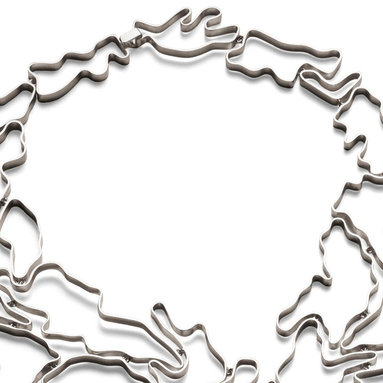 Nathalie Jean Contemporary Sterling Silver Limited Edition Drop Link Necklace For Sale 1