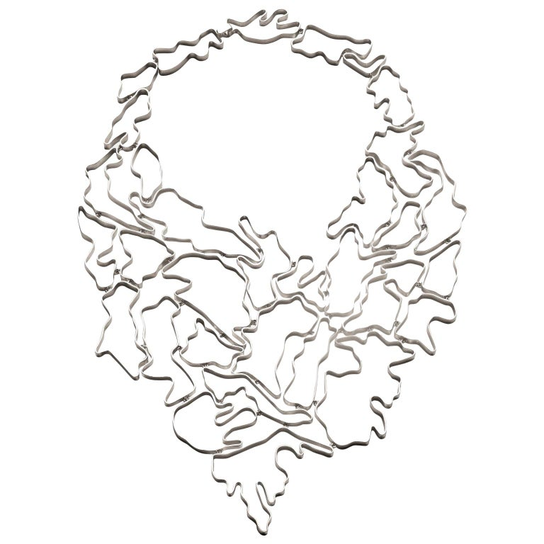 Nathalie Jean Contemporary Sterling Silver Limited Edition Drop Link Necklace For Sale