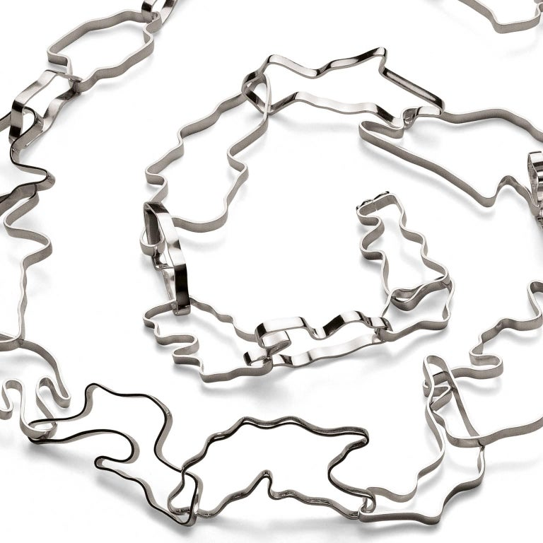 Nathalie Jean Contemporary Sterling Silver Limited Edition Link Chain Necklace In New Condition For Sale In Milan, Lombardia