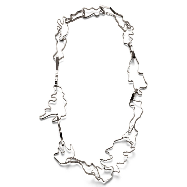 Nathalie Jean Contemporary Sterling Silver Limited Edition Link Chain Necklace For Sale 1