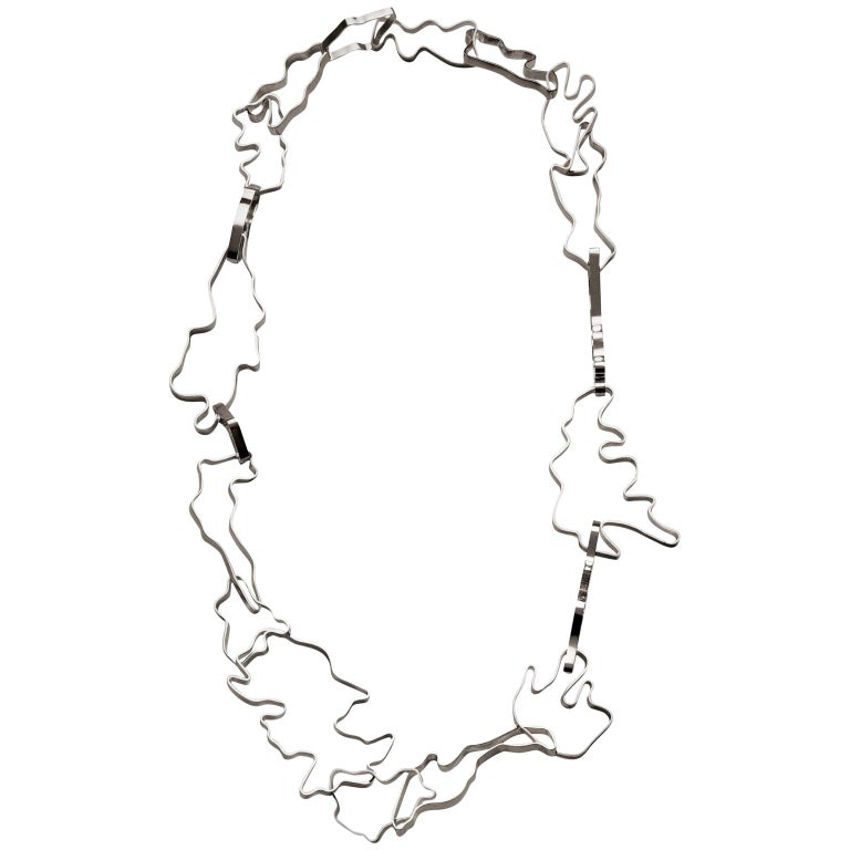 Nathalie Jean Contemporary Sterling Silver Limited Edition Link Chain Necklace For Sale