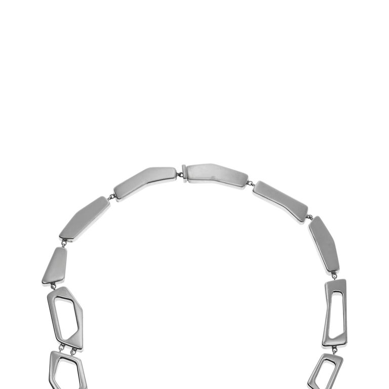 Nathalie Jean Contemporary Sterling Silver Limited Edition Link Drop Necklace For Sale 1