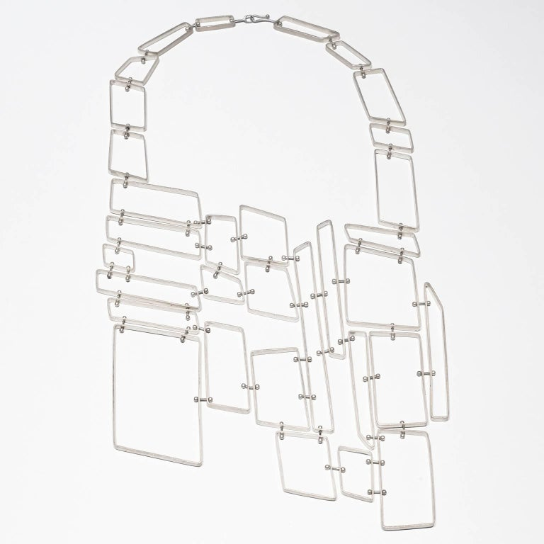 Nathalie Jean Contemporary Sterling Silver Limited Edition Link Drop Necklace For Sale 2